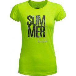 T-shirt damski TSD618 - żółty neon - Outhorn. Żółte t-shirty damskie Outhorn, z nadrukiem, z bawełny. W wyprzedaży za 29,99 zł.