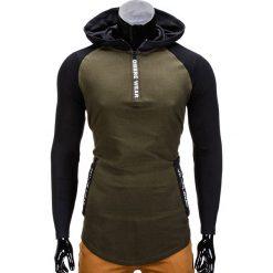 BLUZA MĘSKA Z KAPTUREM B675 - KHAKI. Brązowe bluzy męskie rozpinane marki Ombre Clothing, m, z kapturem. Za 49,00 zł.