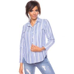"""Bluzki asymetryczne: Bluzka """"Aurel"""" w kolorze niebiesko-białym"""