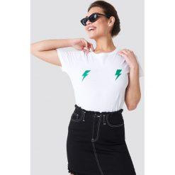 Rut&Circle T-shirt Lightning - White. Białe t-shirty damskie marki Rut&Circle, z nadrukiem, z bawełny, z okrągłym kołnierzem. W wyprzedaży za 48,57 zł.