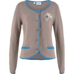 Sweter rozpinany w ludowym stylu, z haftem, długi rękaw bonprix brunatno-niebieski. Niebieskie kardigany damskie bonprix. Za 109,99 zł.