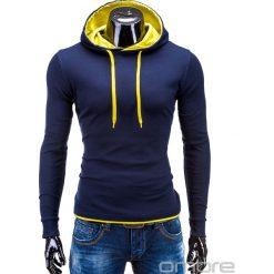 Bluzy męskie: BLUZA MĘSKA Z KAPTUREM CAMILO – GRANATOWO-ŻÓŁTA