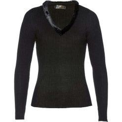 Sweter ze sztucznym futerkiem bonprix czarny. Czarne swetry klasyczne damskie bonprix. Za 89,99 zł.