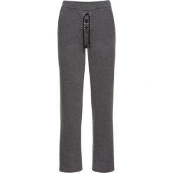 Spodnie dresowe damskie: Spodnie z szerokimi nogawkami bonprix antracytowy melanż