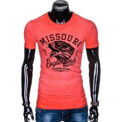 T-SHIRT MĘSKI Z NADRUKIEM S892 - CZERWONY. Czarne t-shirty męskie z nadrukiem marki Ombre Clothing, m, z bawełny, z kapturem. Za 45,00 zł.