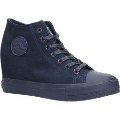Granatowe sneakersy trampki sznurowane na koturnie Big Star BB274089. Szare sneakersy damskie BIG STAR. Za 98,99 zł.