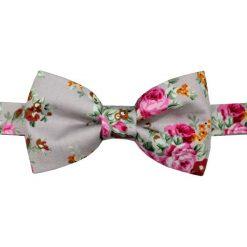 Muchy męskie: Mucha gotowa bowstyle zielona w kwiatki