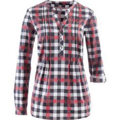 Tunika bluzkowa, długi rękaw bonprix bordowy w kratę. Fioletowe tuniki damskie z długim rękawem marki bonprix, w paski, z dzianiny, moda ciążowa. Za 74,99 zł.