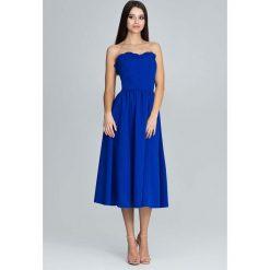 Niebieska Wieczorowa Midi Sukienka Gorsetowa z Falbankami. Czerwone sukienki balowe marki Mohito, l, z materiału, z falbankami. Za 194,90 zł.