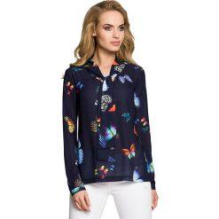 Bluzki asymetryczne: Bluzka w motyle z długimi rękawami - granatowa