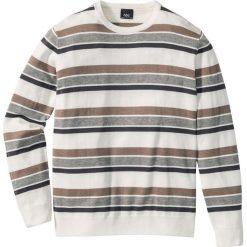 Swetry męskie: Sweter w paski Regular Fit bonprix szary w paski