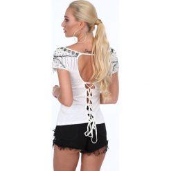 Bluzki asymetryczne: Bluzka z wiązaniem na plecach kremowa ZZ1092