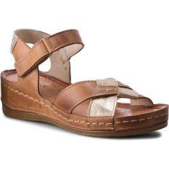Rzymianki damskie: Sandały WASAK – 0473  Brąz/Złoty