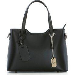 Torebki klasyczne damskie: Skórzana torebka w kolorze czarnym – 28 x 22 x 8 cm