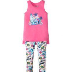 Długi top + długie legginsy (2 części) bonprix różowo-biały z nadrukiem. Czerwone bluzki dziewczęce z nadrukiem marki bonprix, z długim rękawem. Za 37,99 zł.