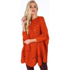 Sweter w ażurowe wzory rudy 0205. Brązowe swetry klasyczne damskie Fasardi. Za 169,00 zł.