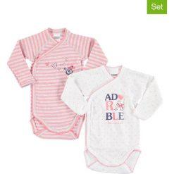 Body niemowlęce: Body (2 szt.) w kolorze biało-jasnoróżowo-szarym
