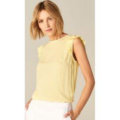 Bluzki, topy, tuniki: Top z kontrastowym wiązaniem na plecach – Żółty