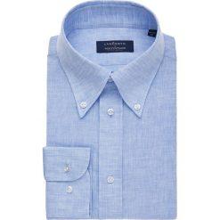 Koszula Niebieska Rush. Niebieskie koszule męskie na spinki marki LANCERTO, na lato, m, ze lnu, button down. W wyprzedaży za 199,00 zł.
