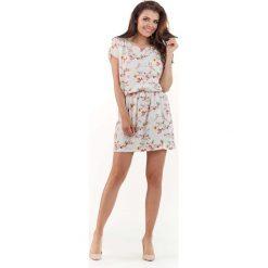 Sukienki: Ecru Wzorzysta Letnia Marszczona w Pasie Sukienka