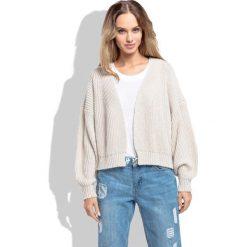 Kardigany damskie: Beżowy Krótki Sweter bez Zapięcia z Grubszym Splotem