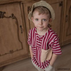 Bluza z krótkim rękawem w paski. Białe bluzy chłopięce rozpinane Pakamera, w paski, z bawełny, z krótkim rękawem. Za 109,00 zł.