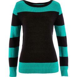 Swetry klasyczne damskie: Sweter bonprix czarno-szmaragdowy