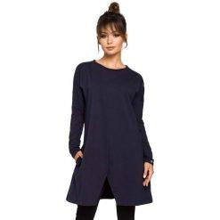 Odzież damska: Granatowa Tunika Trapezowa z Rozcięciem na Dole