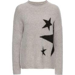 Swetry klasyczne damskie: Sweter dzianinowy bonprix jasnoszaro-czarny