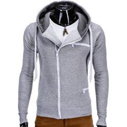 Bluzy męskie: BLUZA MĘSKA ROZPINANA Z KAPTUREM B595 – SZARA