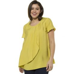 Bluzki asymetryczne: Prosta, gładka bluzka z okrągłym dekoltem i krótkim rękawem