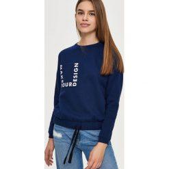 Bluzy damskie: Bluza z wiązaniem – Granatowy