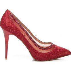 Buty ślubne damskie: Czerwone czółenka na szpilce z cyrkoniami
