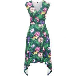 Sukienki: Must have: sukienka z asymetrycznym dołem bonprix ciemnozielony wzorzysty