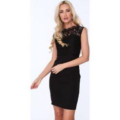 Sukienki: Sukienka dekolt łódka czarna ZZ169