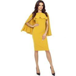 Miodowa Sukienka z Rozciętą Narzutką. Żółte sukienki hiszpanki Molly.pl, na imprezę, l, z dekoltem na plecach, midi, dopasowane. Za 198,90 zł.