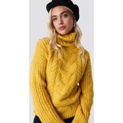 Trendyol Sweter Braided Knit - Yellow. Żółte golfy damskie Trendyol, z dzianiny. Za 121,95 zł.