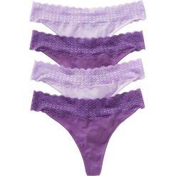 Stringi z koronką (4 pary) bonprix lila - bez. Fioletowe stringi bonprix, w koronkowe wzory, z koronki. Za 39,96 zł.