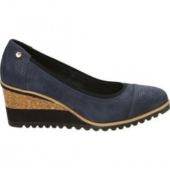 Czółenka - 2467 K69-BLU2. Czarne buty ślubne damskie Venezia, ze skóry, na koturnie. Za 199,00 zł.
