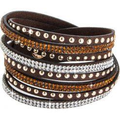 Bransoletki damskie: Skórzana bransoletka w kolorze brązowym ze szklanymi kryształkami