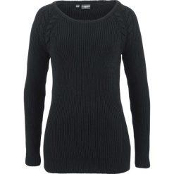 Sweter  w warkocze bonprix czarny. Czarne swetry klasyczne damskie bonprix. Za 74,99 zł.