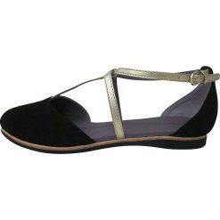"""Rzymianki damskie: Skórzane sandały """"Merida"""" w kolorze czarnym"""