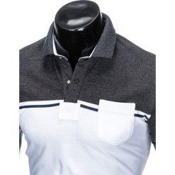KOSZULKA MĘSKA POLO BEZ NADRUKU S917 - GRAFITOWA/BIAŁA. Białe koszulki polo Ombre Clothing, m, z nadrukiem. Za 49,00 zł.