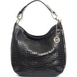 Torebki klasyczne damskie: Skórzana torebka w kolorze czarnym – 37 x 32 x 12 cm