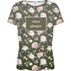 Colour Pleasure Koszulka damska CP-030 266 zielono-różowa r. XXXL/XXXXL. Czerwone bluzki damskie Colour pleasure. Za 70,35 zł.