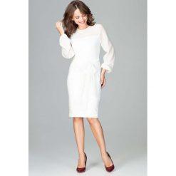 Ecru Kobieca Wizytowa Sukienka z Prześwitującymi Rękawami. Czerwone długie sukienki marki Molly.pl, l, z jeansu, biznesowe, z dekoltem na plecach, z długim rękawem. Za 149,90 zł.
