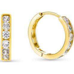 Kolczyki damskie: Wspaniałe Kolczyki Złote - złoto żółte 333, Cyrkonia