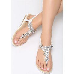 Białe Sandały Cyclamen. Białe sandały damskie marki Born2be, z materiału, na obcasie. Za 79,99 zł.
