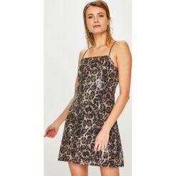 Answear - Sukienka Animal Me. Czarne sukienki balowe marki bonprix, do pracy, w paski, z krótkim rękawem, mini, baskinki. Za 169,90 zł.
