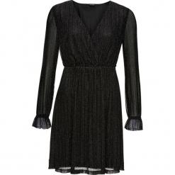 Sukienka z połyskującymi paskami bonprix czarny. Brązowe sukienki z falbanami marki Mohito, l, z kopertowym dekoltem, kopertowe. Za 109,99 zł.